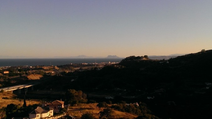 view of Gibraltar and Morocco from our balcony