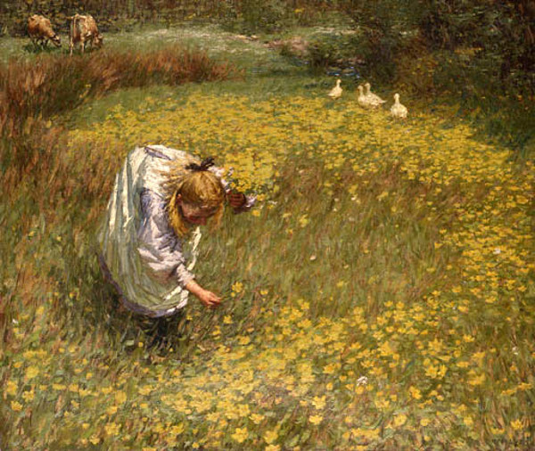 marsh-marigolds by Henry Herbert la Thangue (1859 - 1929)