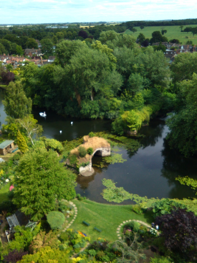 Looking down at the ruined bridge  on the River Avon from Cesar's Tower.