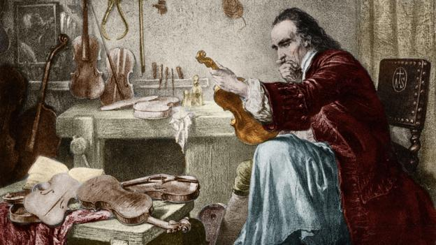 Illustration of Antonio Stradivari in His Atelier