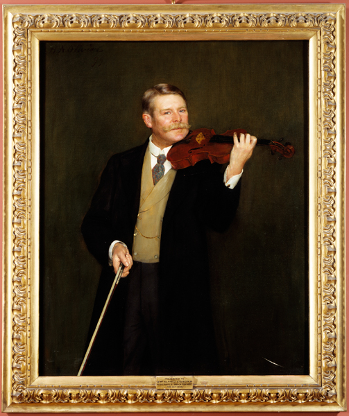 Portrait of Alfred Gibson with his Stradivarius by Herbert Olivier (uncle of Laurence), c. 1899