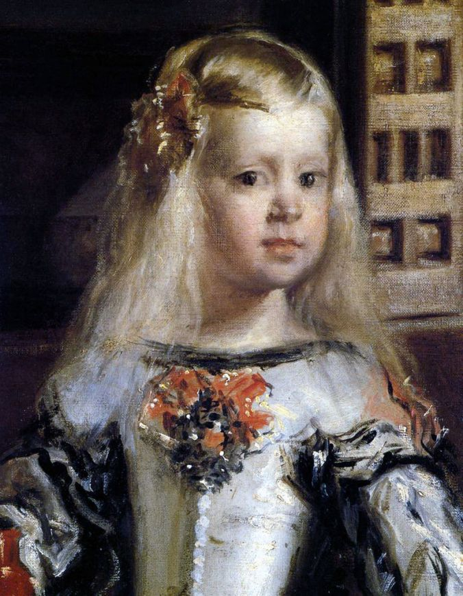 Detail of Infanta Margarita Teresa from Las Meninas. Her left cheek had to be repainted after the painting suffered fire damage in 1734.