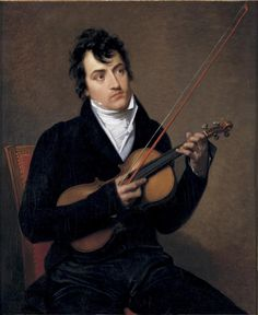 Jacques Antoine Vallin - Portrait of young man with a violin - possibly Pierre Rode
