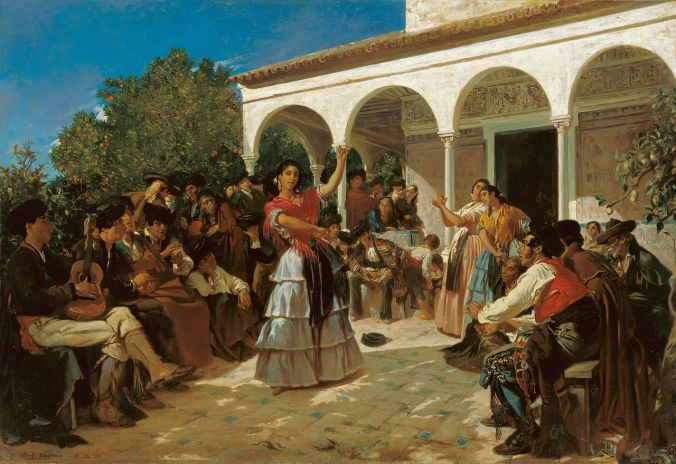 A Gypsy Dance in the Gardens of the Alcázar by Alfred Dehodencq