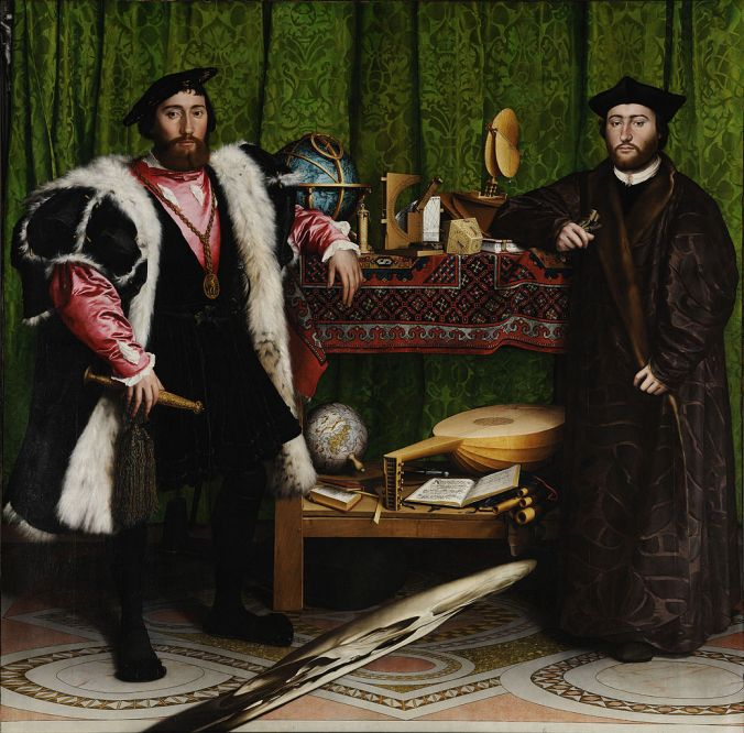 The French Ambassadors by Hans Holbein the Younger c. 1533. Oil on wood, 207 x 210 cm. The National Gallery, London