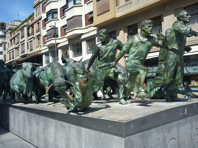 Bull-run monument in Pamplona