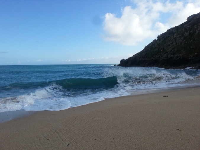 View towards the Minack Theatre from Porthcurno Beach