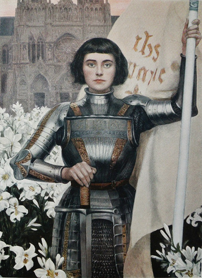 Joan of Arc by Albert Lynch. This painting could be the ruest likeness of her, as she had short, dark hair, cut in a round style.
