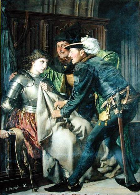 Joan of Arc Insulted in Prison, c. 1866 (oil on canvas) by Patrois, Isidore (1811-84) Musee des Beaux-Arts, France Giraudon French, out of copyright