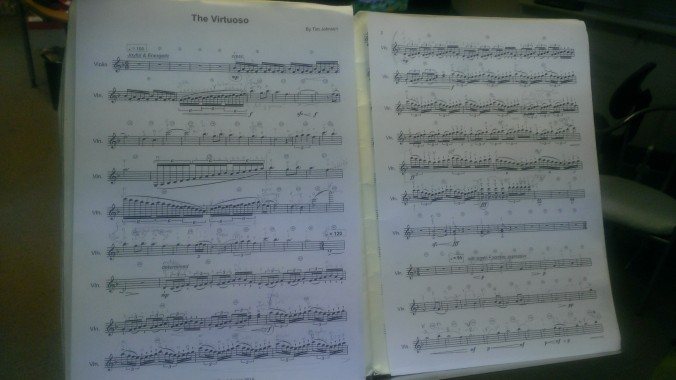 Music score to accompany The Virtuoso by Tim Johnson