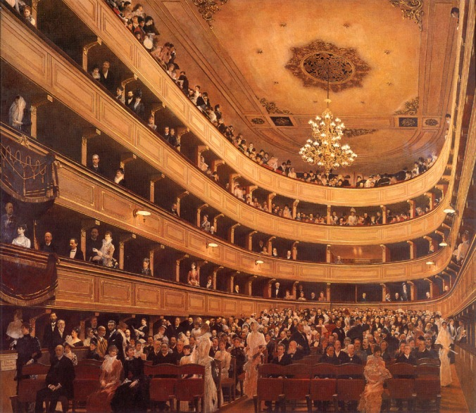 The old Burgtheater by Klimt c. 1889