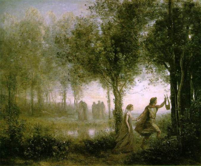 Orpheus leading Eurydice from the underworld by Jean-Baptsite Camille Corot