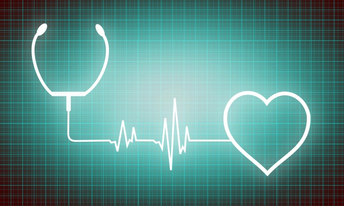 Heart and stethoscope - cardiology and medicine icons