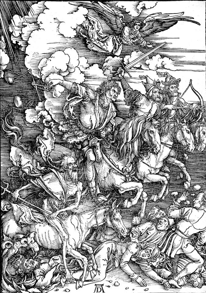 Four Horsemen of the Apocalypse - woodcut print by Albrecht Durer c. 1497-98