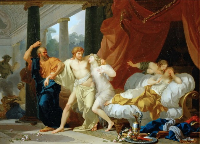 Socrates tears Alcibiades from the embrace of sensual pleasure by Jean-Baptiste Regnault c. 1791