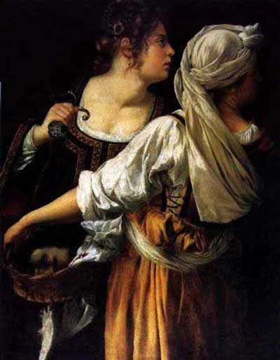 Judith and her Maidservant by Artemisia Gentileschi c. 1612-13. Housed in the Pitti Palace, Florence