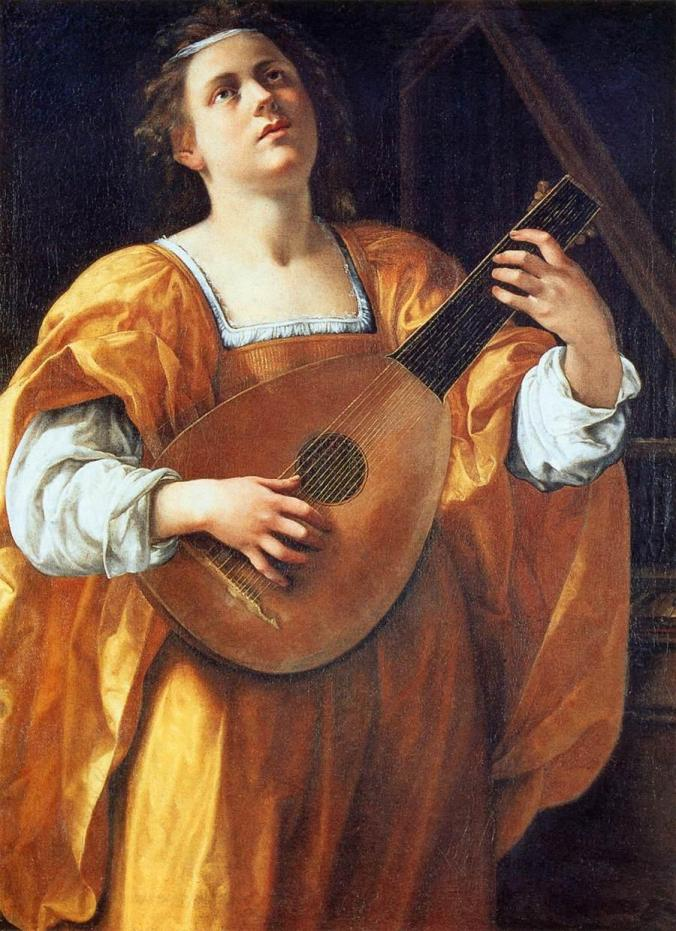 Saint Cecilia Playing a Lute by Artemisia Gentileschi