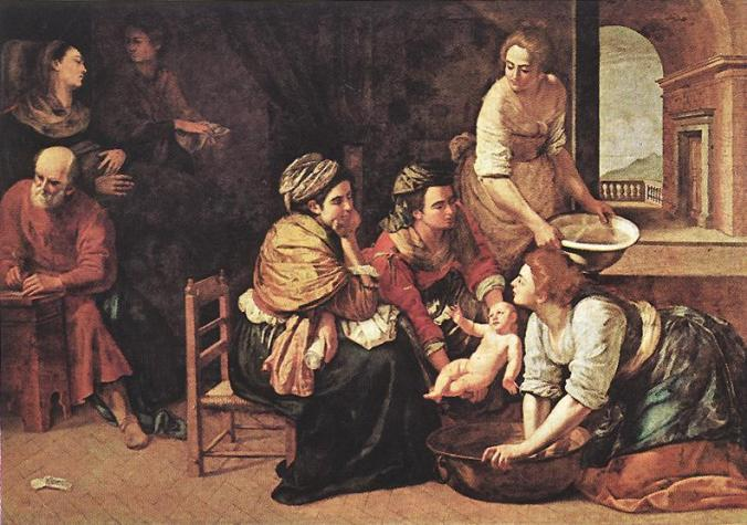 The Birth of St. John the Baptist by Artemisia Gentileschi. Commissioned by Philip IV of Spain
