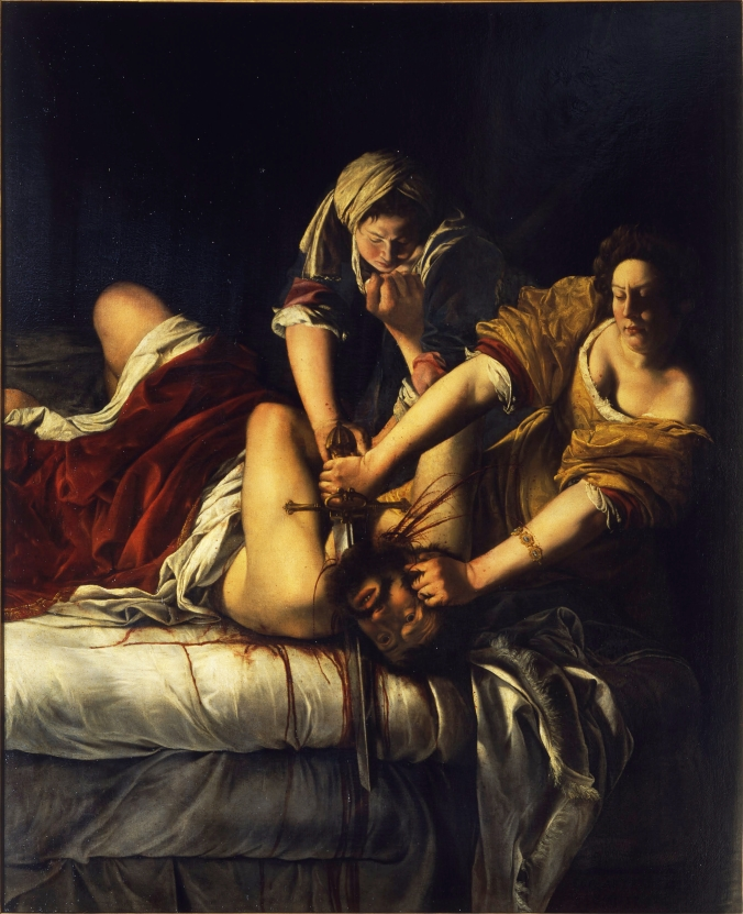 Judith Slaying Holofernes by Artemisia Gentileschi c. 1614-18. Pitti Palace Florence
