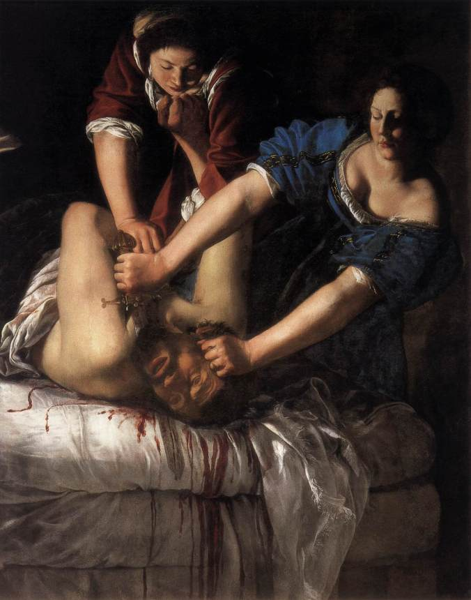 Judith Slaying Holofernes by Artemisia Gentileschi c. 1611-12. Commissioned by the King of Naples now haning in the Capodimonte Museum, Naples.