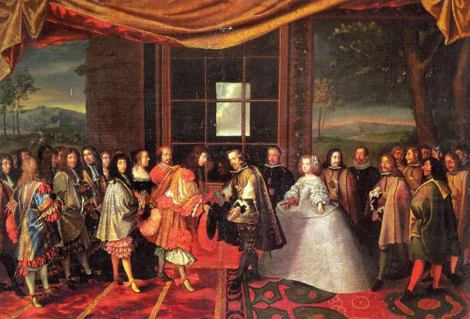 Maria Theresa is handed over to the French and her husband Louis XIV by proxy on the Isle of Pheasants in June 1660