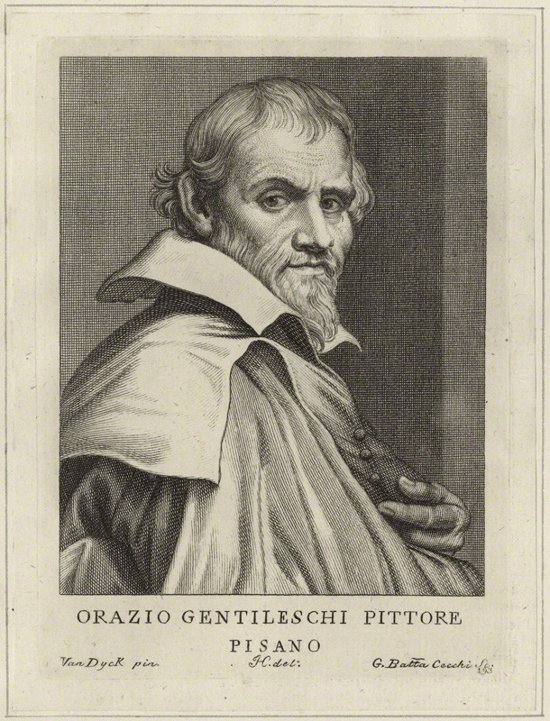 Portrait of Orazio Gentileschi by Giovanni Battista Cecchi, after Sir Anthony Van Dyck. Line engraving, possibly late 18th century