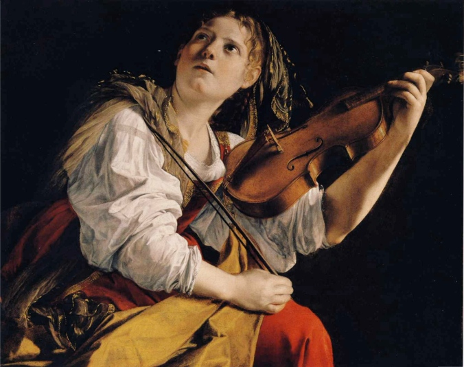 Young woman playing a violin by Orazio Gentileschi - obviously a very good likeness of his beloved daughter - Artemisia Gentileschi!