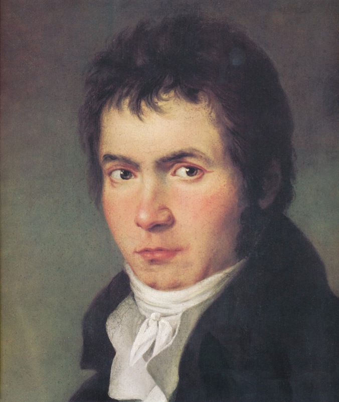 Detail of the 1804-05 portrait of Beethoven by JW Maher, painted at the time Beethoven was writing his fifth symphony.