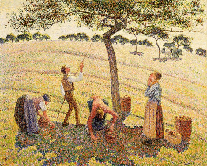 Apple Picking at Eragny sur Epte c. 1888 by Camille Pissarro