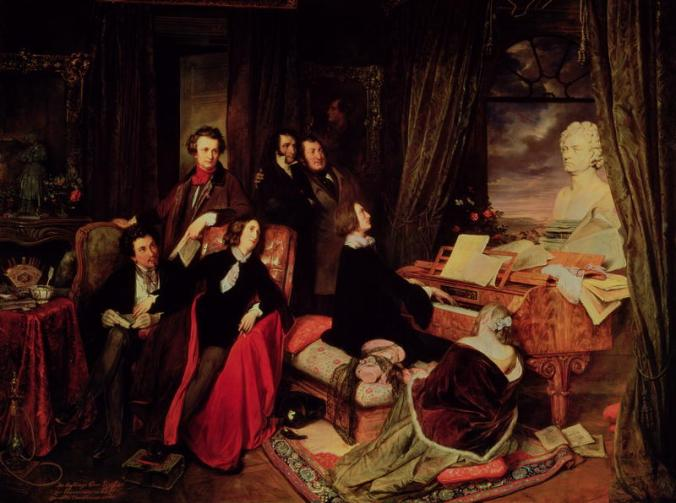 Liszt at the Piano by Biedermeier painter Josef Danhauser, c. 1840