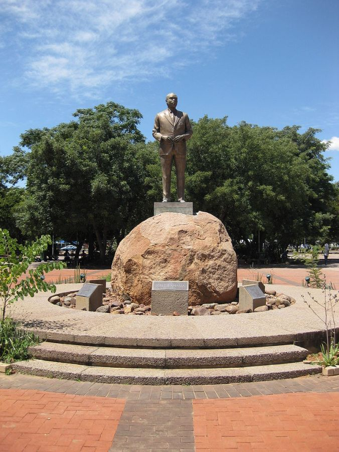 Statue of Sir Seretse Khama outside the Parliament building in Botswana.